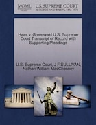 Haas V. Greenwald U.s. Supreme Court Transcript Of Record With Supporting Pleadings