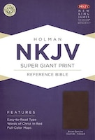 NKJV SUPER GIANT PRINT REFERENCE BIBLE, BROWN GENUINE COWHIDE INDEXED