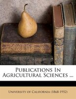 Publications In Agricultural Sciences ...