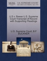 U S V. Reese U.s. Supreme Court Transcript Of Record With Supporting Pleadings