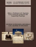 Miles V. Tomlinson U.s. Supreme Court Transcript Of Record With Supporting Pleadings