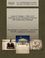 Leslie D. Stickler V. Ohio. U.s. Supreme Court Transcript Of Record With Supporting Pleadings