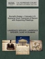 Burnell's Estate V. Colorado U.s. Supreme Court Transcript Of Record With Supporting Pleadings