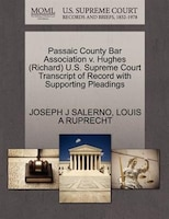Passaic County Bar Association V. Hughes (richard) U.s. Supreme Court Transcript Of Record With Supporting Pleadings