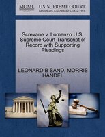 Screvane V. Lomenzo U.s. Supreme Court Transcript Of Record With Supporting Pleadings