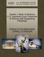 Saville V. Bank Of America U.s. Supreme Court Transcript Of Record With Supporting Pleadings