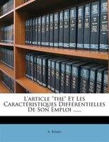 """L'article """"the"""" Et Les Caractéristiques Différentielles De Son Emploi ......"""