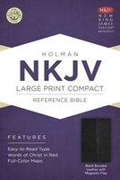 NKJV LARGE PRINT COMPACT REFERENCEBIBLE, BLACK BONDED LEATHER WITH MA