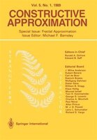 Constructive Approximation: Special Issue: Fractal Approximation