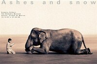 Boy reading to elephant Mexico City exhibition (standard poster): Mexico City exhibition (standard poster)