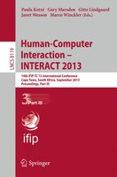 Human-Computer Interaction -- INTERACT 2013: 14th IFIP TC 13 International Conference, Cape Town, South Africa, September 2-6, 201