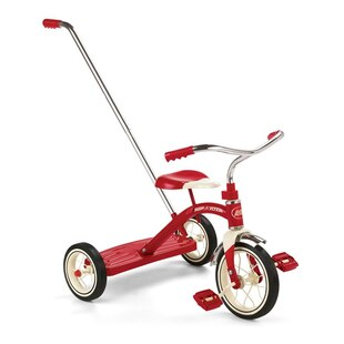 Classic Red Tricycle With Push Handle