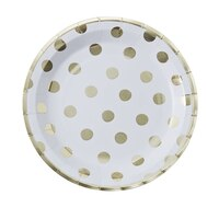 Ginger Ray Pick & Mix White Polka Dot Plates, Set of 8 by Ginger Ray