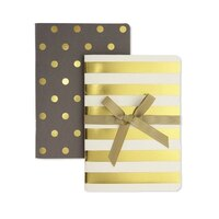 GO Stationery Shimmer Gold/Taupe Set of 2 Notebooks - A6 by Go Stationery