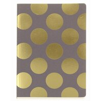 GO Stationery Shimmer Gold Polka A5 Notebook - Taupe by Go Stationery