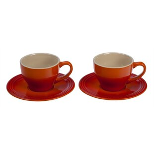 Capuccino Cups and Saucers - Flame, Set of 2