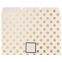 Maintain a clean and stylish office space by keeping important loose papers neatly organized in these beautiful file folders with gold polka dots from Kate Spade New York
