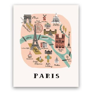 Paris Map Print- 8x10