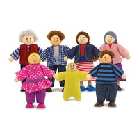 Melissa & Doug 7-Piece Poseable Wooden Doll Family for Dollhouse by Melissa & Doug