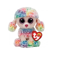 TY BEANIE BOOS Rainbow the Multicolor Poodle (Small) by Ty