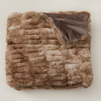RUCHED FAUX-FUR THROW BLANKET - BROWN