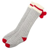 POM POM STRIPE READING SOCKS RED