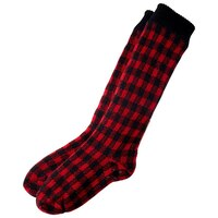 CHECKERED READING SOCKS RED AND BLACK