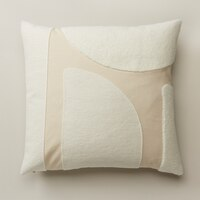 OUI EMBROIDERED PAINTED SHAPES PILLOW COVER IVORY 18