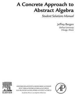 Book A Concrete Approach To Abstract Algebra,Student Solutions Manual (e-only) by Jeffrey Bergen