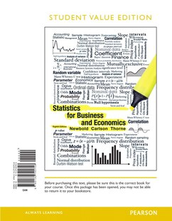 Statistics For Business And Economics, Student Value Edition