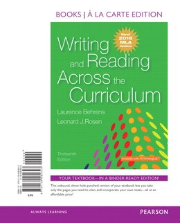 Book Writing And Reading Across The Curriculum, Books A La Carte Edition, Mla Update Edition by Laurence M. Behrens