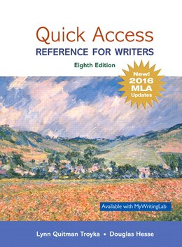Book Quick Access: Reference For Writers, Mla Update by Lynn Quitman Troyka