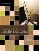 Book Procedures For The Canadian Legal Office by M. Louise Winterstein