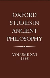 Book Oxford Studies in Ancient Philosophy: Volume XVI, 1998 by C. C. W. Taylor