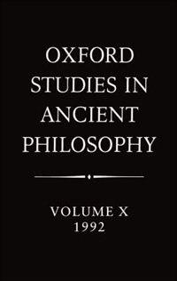 Book Oxford Studies in Ancient Philosophy: Volume X: 1992 by Julia Annas
