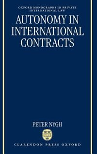 Book Autonomy in International Contracts by Peter Nygh