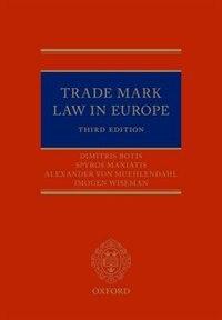 Book Trade Mark Law in Europe by Dimitris Botis