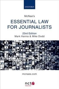 Book McNaes Essential Law for Journalists by Mark Hanna
