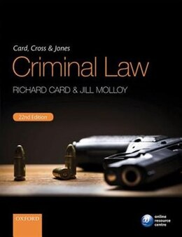 Book Card, Cross and Jones Criminal Law by Richard Card