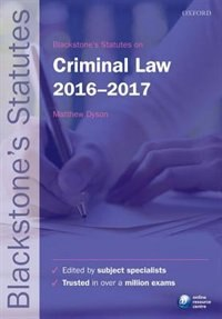Book Blackstones Statutes on Criminal Law 2016-2017 by Matthew Dyson
