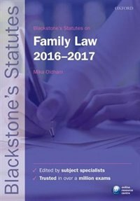 Book Blackstones Statutes on Family Law 2016-2017 by Mika Oldham