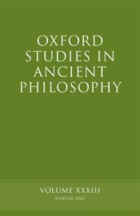 Book Oxford Studies in Ancient Philosophy XXXIII by David Sedley