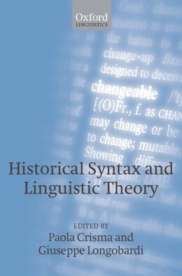 Book Historical Syntax and Linguistic Theory by Paola Crisma