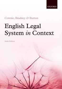 Book English Legal System in Context 6e by Fiona Cownie
