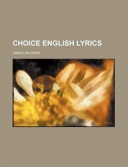 Book Choice English Lyrics by James Baldwin