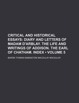 Book Critical and Historical Essays by Thomas Babington Macaulay Macaulay