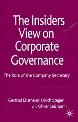 Book The Insider's View on Corporate Governance: The Role of the Company Secretary by Erismann Erismann