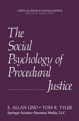 Book The Social Psychology of Procedural Justice by E.Allan Lind