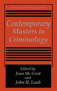 Book Contemporary Masters in Criminology by Joan McCord