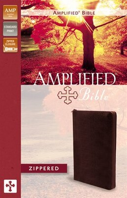 Book Amplified Zippered Collection Bible, Bonded Leather, Burgundy by Zondervan